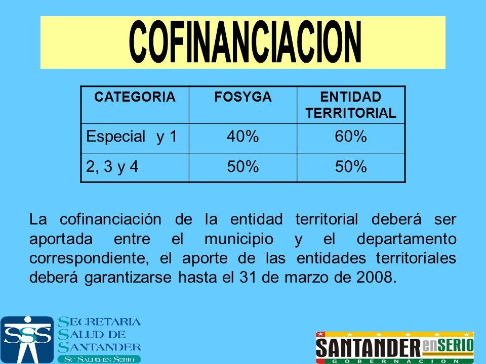 CATEGORIAFOSYGAENTIDAD TERRITORIAL Especial y 140%60% 2, 3 y 450% La cofinanciación de la entidad territorial deberá ser aportada entre el municipio y