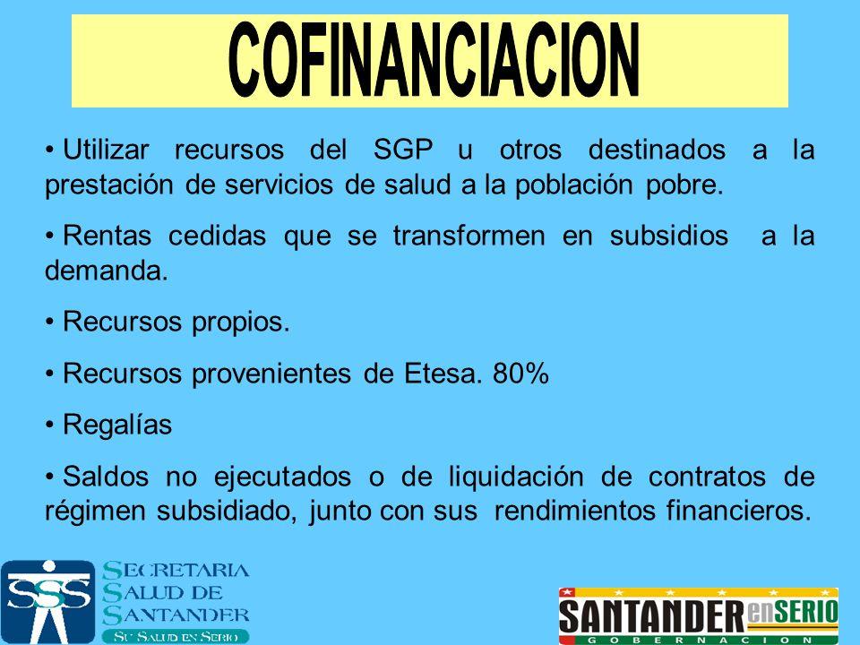 Utilizar recursos del SGP u otros destinados a la prestación de servicios de salud a la población pobre. Rentas cedidas que se transformen en subsidio
