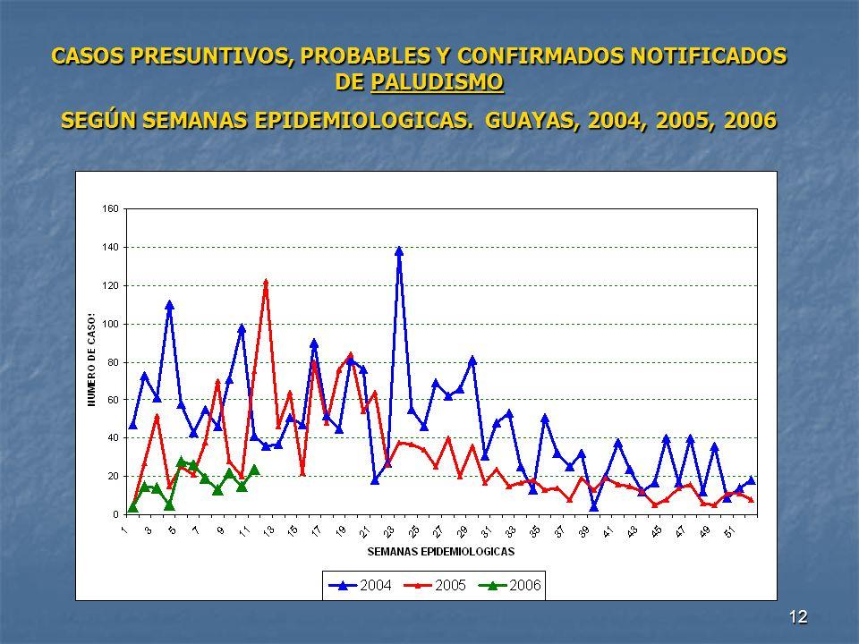 12 CASOS PRESUNTIVOS, PROBABLES Y CONFIRMADOS NOTIFICADOS DE PALUDISMO SEGÚN SEMANAS EPIDEMIOLOGICAS. GUAYAS, 2004, 2005, 2006