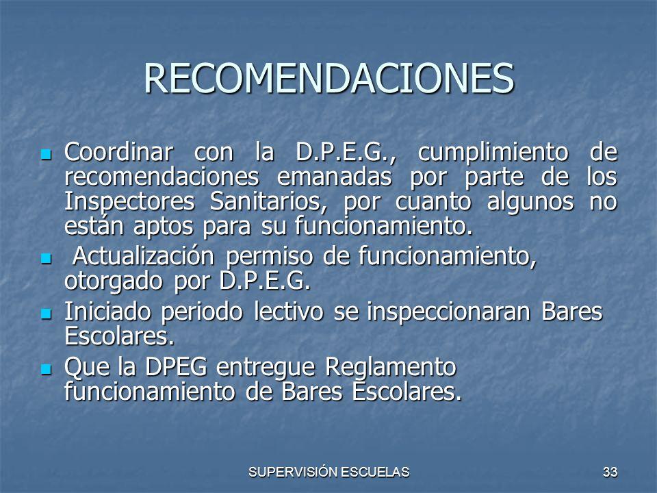 SUPERVISIÓN ESCUELAS33 RECOMENDACIONES Coordinar con la D.P.E.G., cumplimiento de recomendaciones emanadas por parte de los Inspectores Sanitarios, po