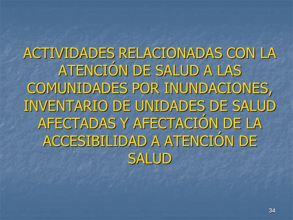 34 ACTIVIDADES RELACIONADAS CON LA ATENCIÓN DE SALUD A LAS COMUNIDADES POR INUNDACIONES, INVENTARIO DE UNIDADES DE SALUD AFECTADAS Y AFECTACIÓN DE LA