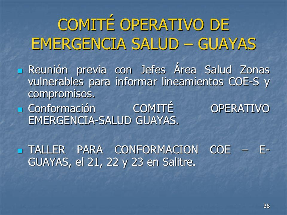 38 COMITÉ OPERATIVO DE EMERGENCIA SALUD – GUAYAS Reunión previa con Jefes Área Salud Zonas vulnerables para informar lineamientos COE-S y compromisos.