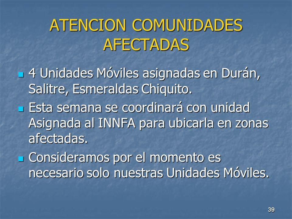 39 ATENCION COMUNIDADES AFECTADAS 4 Unidades Móviles asignadas en Durán, Salitre, Esmeraldas Chiquito. 4 Unidades Móviles asignadas en Durán, Salitre,