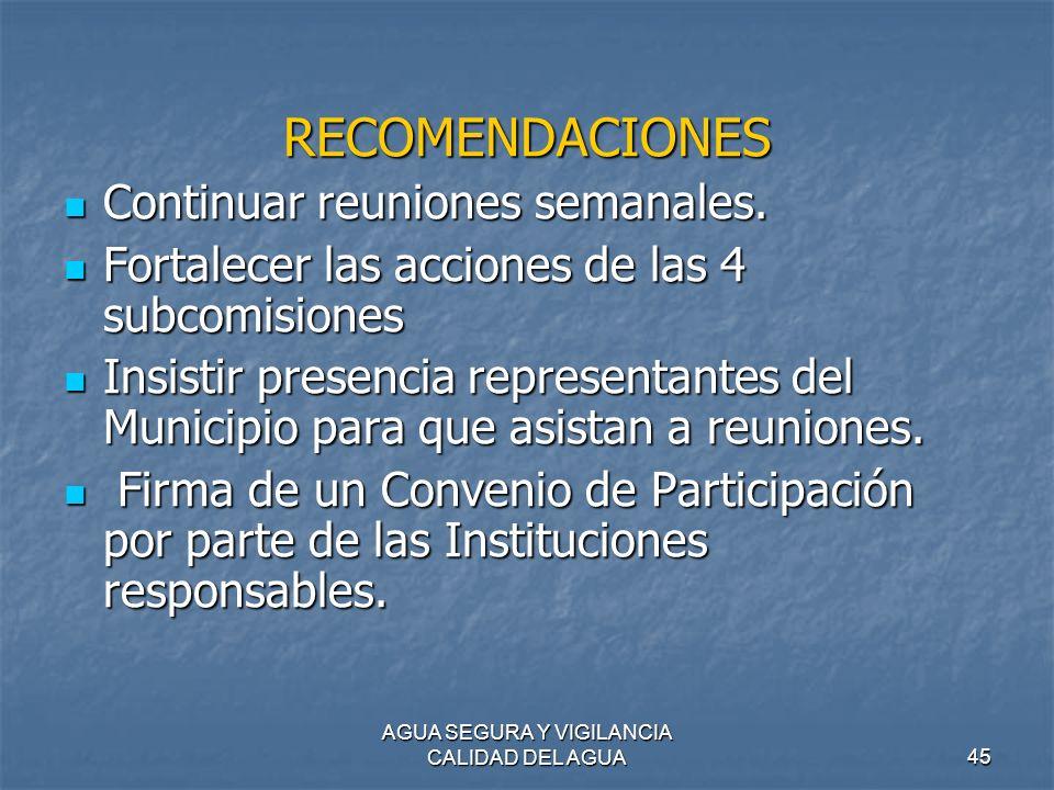 AGUA SEGURA Y VIGILANCIA CALIDAD DEL AGUA45 RECOMENDACIONES Continuar reuniones semanales. Continuar reuniones semanales. Fortalecer las acciones de l