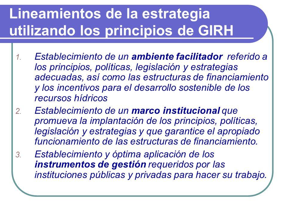 Lineamientos de la estrategia utilizando los principios de GIRH 1. Establecimiento de un ambiente facilitador referido a los principios, políticas, le