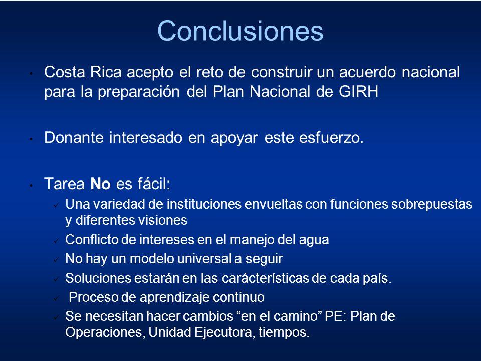 Conclusiones Costa Rica acepto el reto de construir un acuerdo nacional para la preparación del Plan Nacional de GIRH Donante interesado en apoyar est