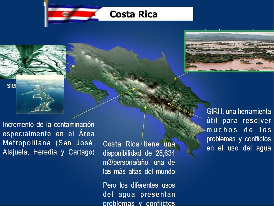 Costa Rica tiene una disponibilidad de 28,634 m3/persona/año, una de las más altas del mundo Pero los diferentes usos del agua presentan problemas y c