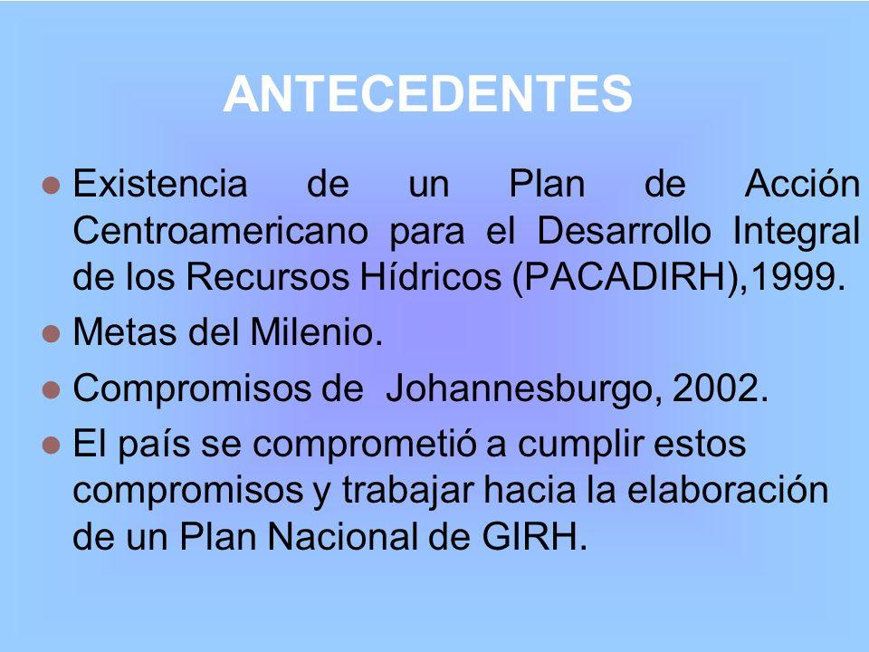 ANTECEDENTES Existencia de un Plan de Acción Centroamericano para el Desarrollo Integral de los Recursos Hídricos (PACADIRH),1999. Metas del Milenio.
