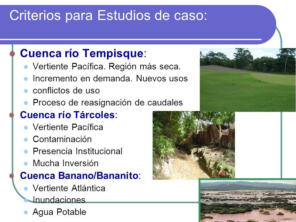 Criterios para Estudios de caso: Cuenca río Tempisque: Vertiente Pacífica. Región más seca. Incremento en demanda. Nuevos usos conflictos de uso Proce