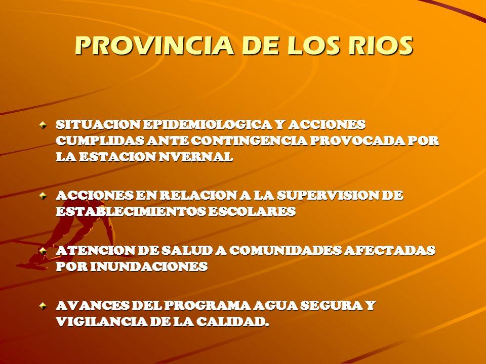 PROVINCIA DE LOS RIOS SITUACION EPIDEMIOLOGICA Y ACCIONES CUMPLIDAS ANTE CONTINGENCIA PROVOCADA POR LA ESTACION NVERNAL ACCIONES EN RELACION A LA SUPE