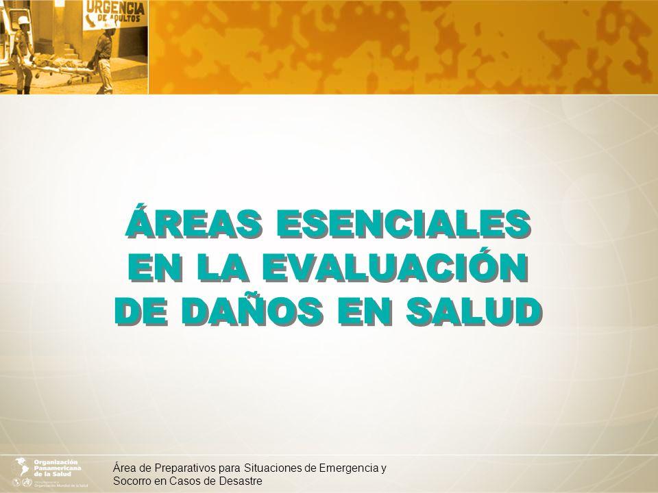 Área de Preparativos para Situaciones de Emergencia y Socorro en Casos de Desastre Áreas esenciales en la evaluación de daños en salud 1.Vigilancia epidemiológica y seguimiento de las enfermedades trazadoras 2.Evaluación del saneamiento básico y determinación de prioridades 3.Evaluación de la infraestructura de salud