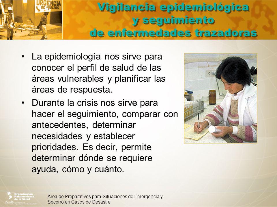Área de Preparativos para Situaciones de Emergencia y Socorro en Casos de Desastre Vigilancia epidemiológica y seguimiento de enfermedades trazadoras