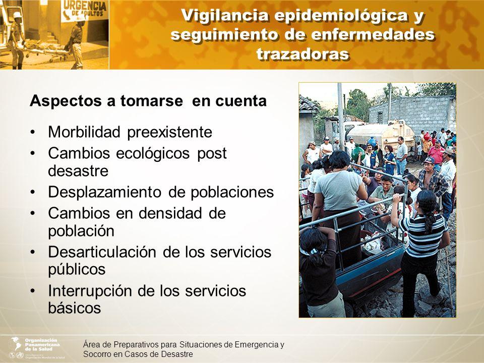 Área de Preparativos para Situaciones de Emergencia y Socorro en Casos de Desastre Ejemplo de enfermedades trazadoras en desastres (MINSA Perú) Enfermedad Determinantes de riesgo / factores de riesgo EDAs y cóleraElevada temperatura ambiental.