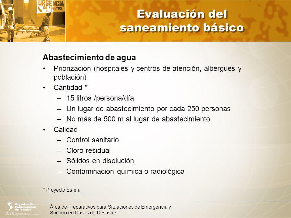 Área de Preparativos para Situaciones de Emergencia y Socorro en Casos de Desastre Evaluación del saneamiento básico Abastecimiento de agua Priorizaci