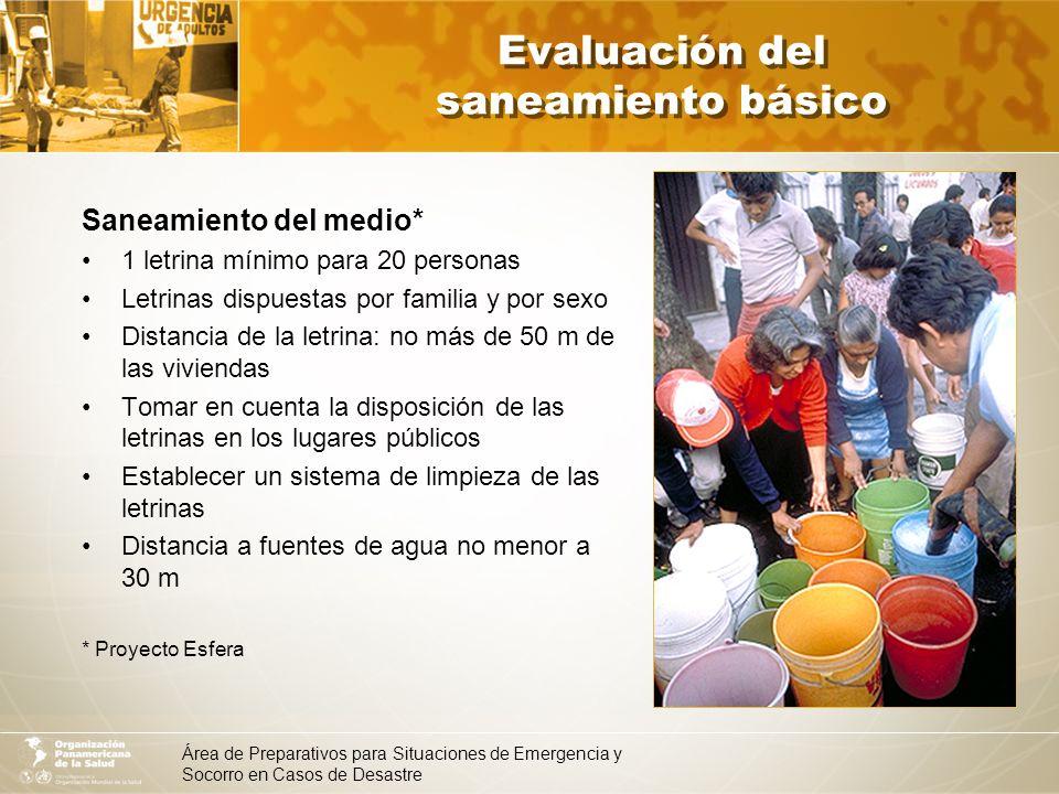 Área de Preparativos para Situaciones de Emergencia y Socorro en Casos de Desastre Evaluación del saneamiento básico Alojamiento Ubicar lugares adecuados para alojar a los afectados.