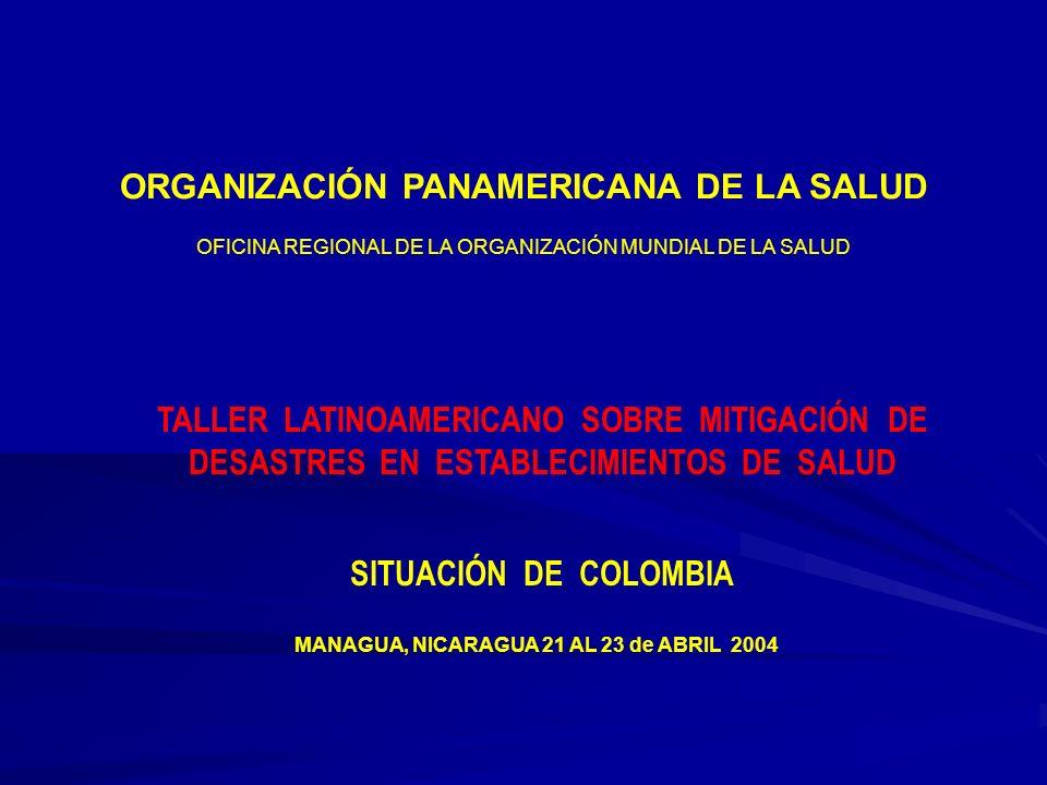 MANAGUA, NICARAGUA 21 AL 23 de ABRIL 2004 ORGANIZACIÓN PANAMERICANA DE LA SALUD OFICINA REGIONAL DE LA ORGANIZACIÓN MUNDIAL DE LA SALUD TALLER LATINOAMERICANO SOBRE MITIGACIÓN DE DESASTRES EN ESTABLECIMIENTOS DE SALUD SITUACIÓN DE COLOMBIA