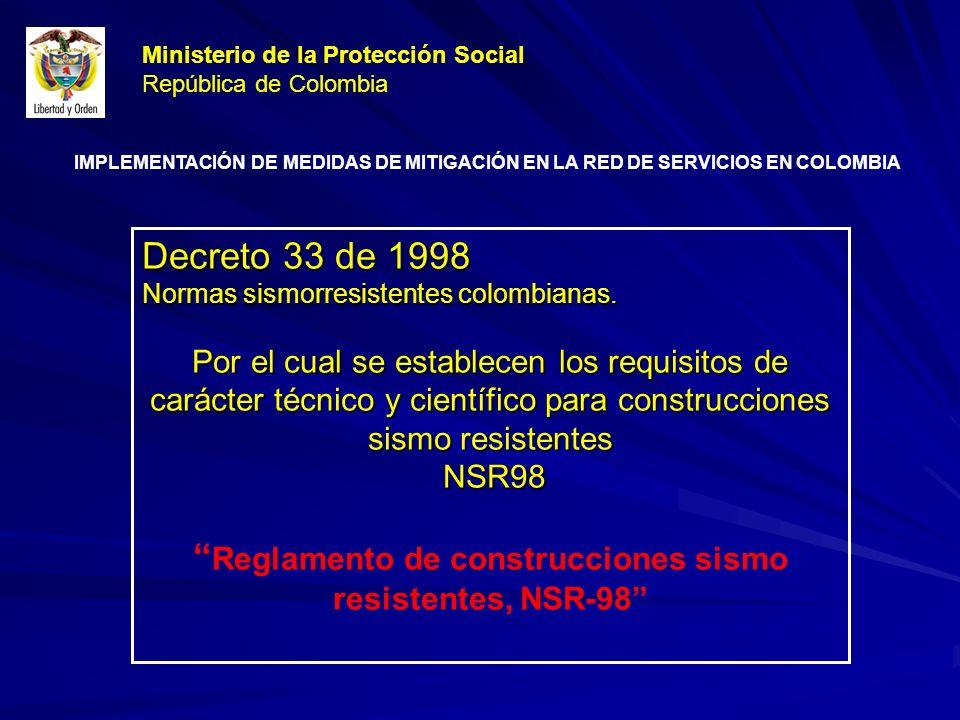 Decreto 33 de 1998 Normas sismorresistentes colombianas.