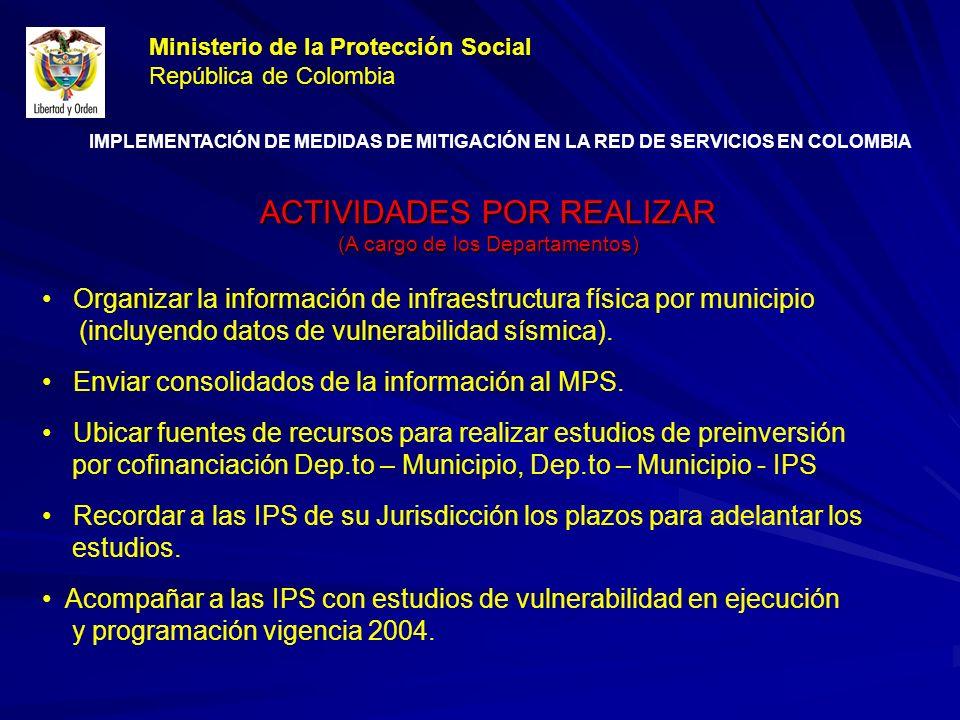 ACTIVIDADES POR REALIZAR (A cargo de los Departamentos) Organizar la información de infraestructura física por municipio (incluyendo datos de vulnerabilidad sísmica).