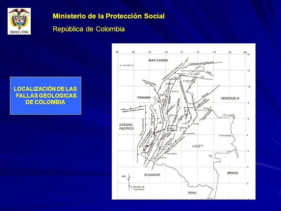 LOCALIZACIÓN DE LAS FALLAS GEOLOGICAS DE COLOMBIA Ministerio de la Protección Social República de Colombia