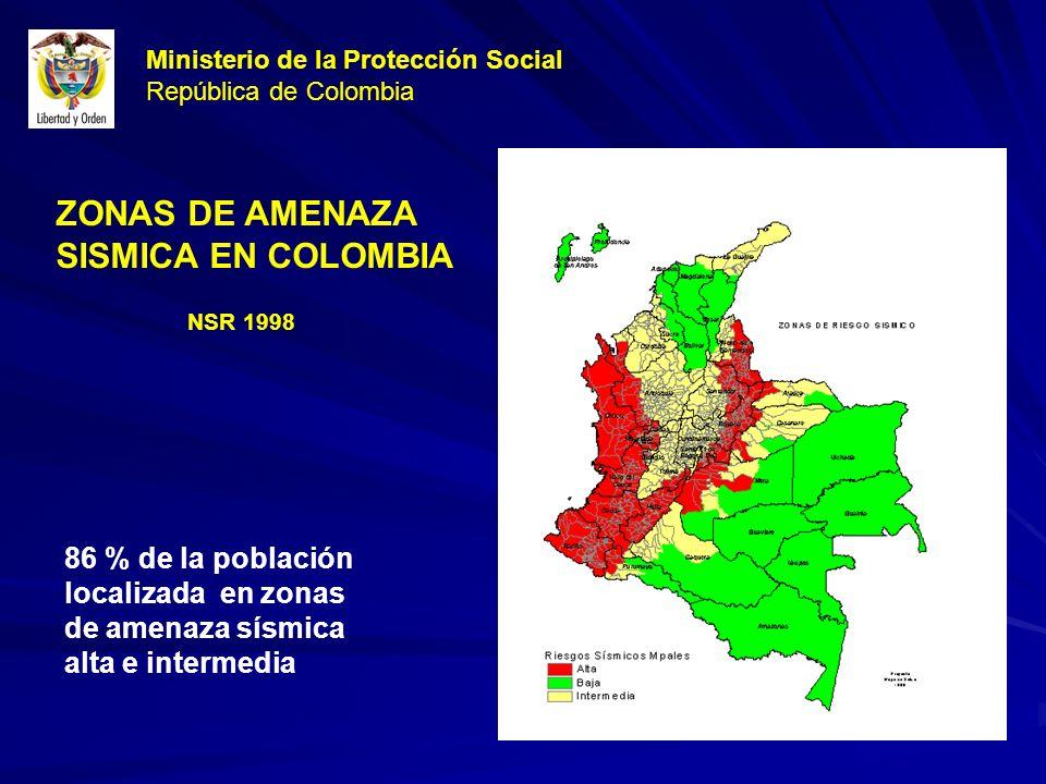 ZONAS DE AMENAZA SISMICA EN COLOMBIA 86 % de la población localizada en zonas de amenaza sísmica alta e intermedia NSR 1998 Ministerio de la Protección Social República de Colombia
