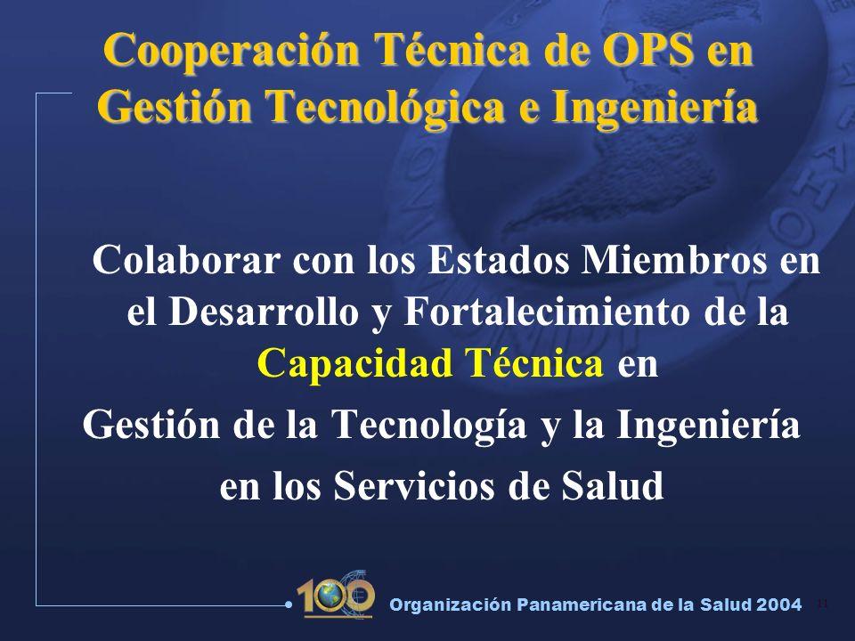 11 Organización Panamericana de la Salud 2004 Cooperación Técnica de OPS en Gestión Tecnológica e Ingeniería Colaborar con los Estados Miembros en el