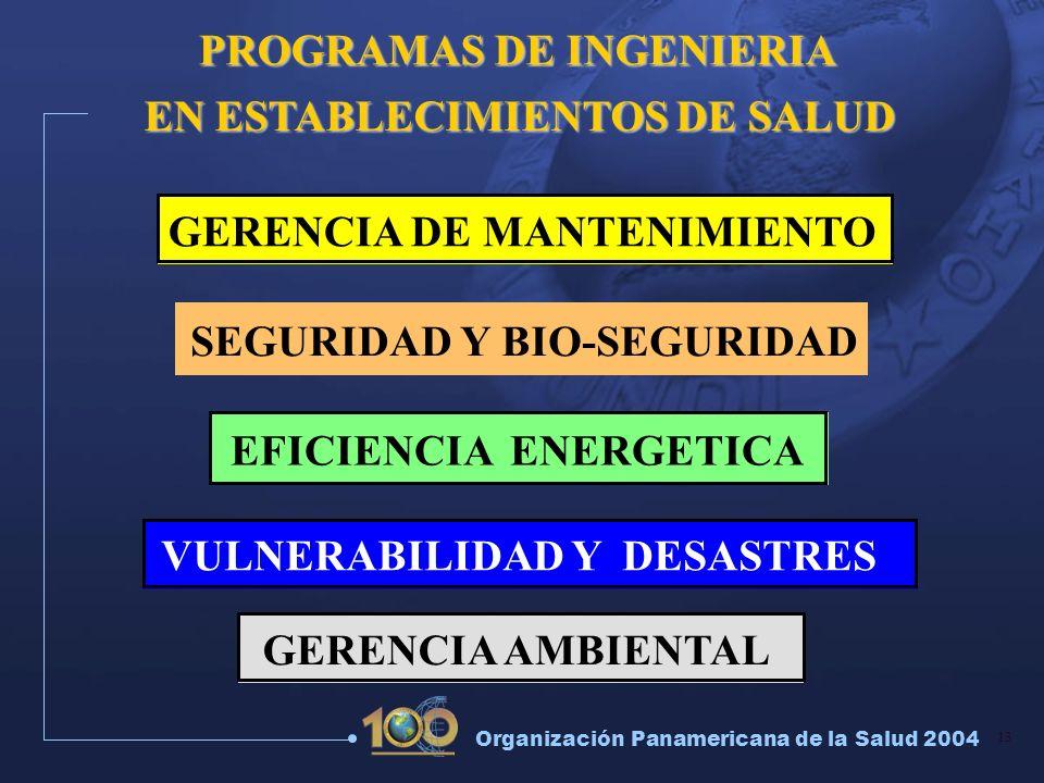 13 Organización Panamericana de la Salud 2004 EFICIENCIA ENERGETICA GERENCIA DE MANTENIMIENTO SEGURIDAD Y BIO-SEGURIDAD VULNERABILIDAD Y DESASTRES GER