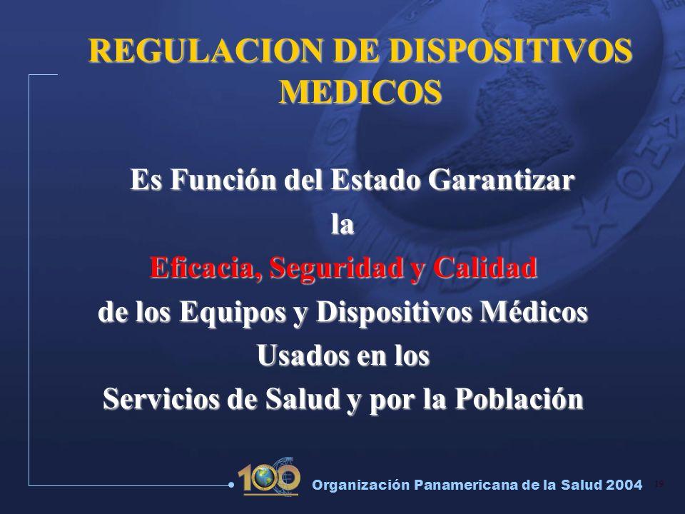 19 Organización Panamericana de la Salud 2004 REGULACION DE DISPOSITIVOS MEDICOS Es Función del Estado Garantizar Es Función del Estado Garantizarla E