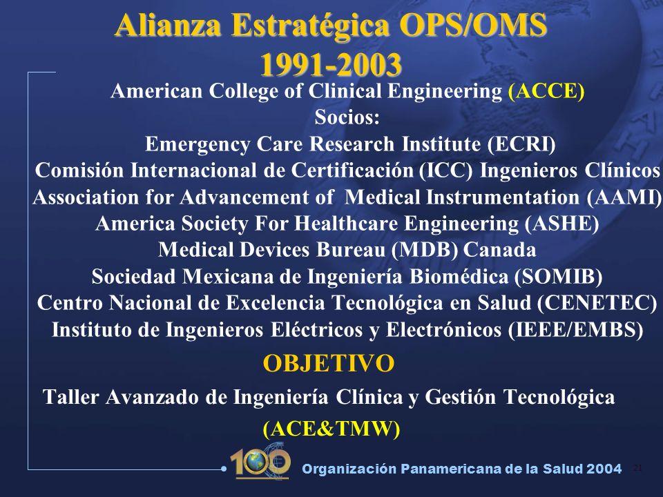 21 Organización Panamericana de la Salud 2004 American College of Clinical Engineering (ACCE) Socios: Emergency Care Research Institute (ECRI) Comisió