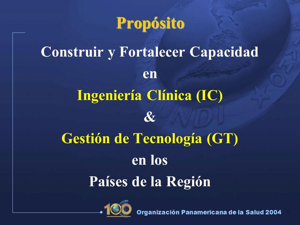 22 Organización Panamericana de la Salud 2004 Propósito Construir y Fortalecer Capacidad en Ingeniería Clínica (IC) & Gestión de Tecnología (GT) en lo