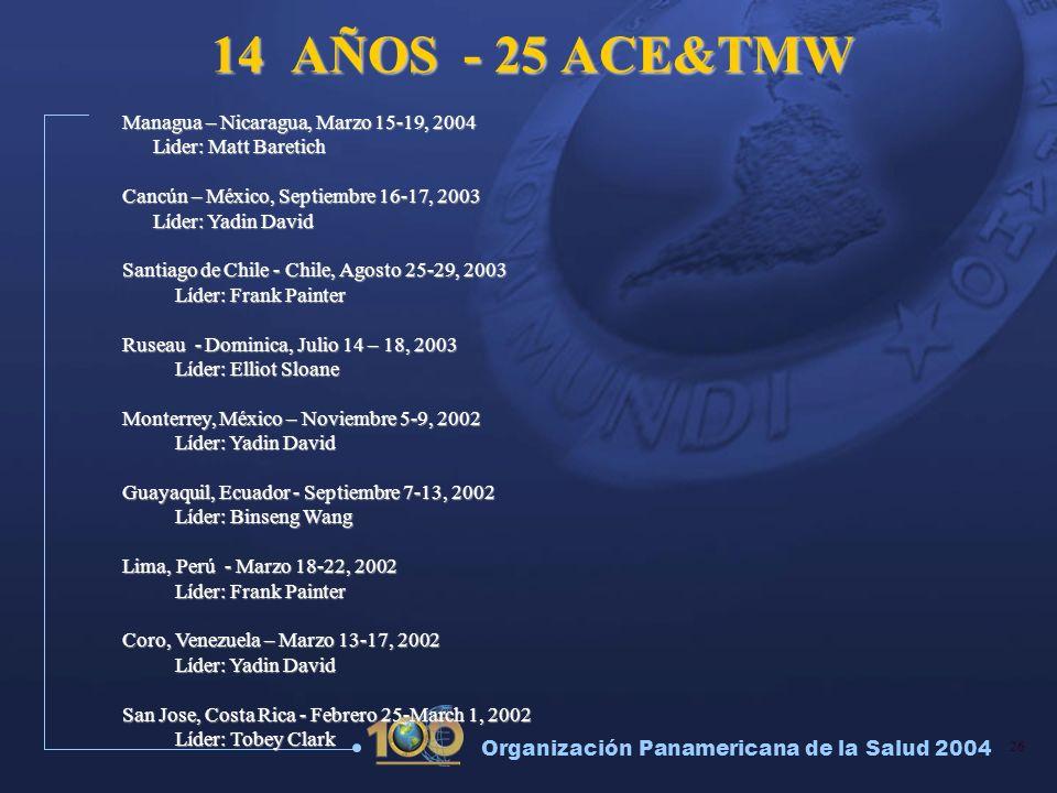 26 Organización Panamericana de la Salud 2004 14 AÑOS - 25 ACE&TMW Managua – Nicaragua, Marzo 15-19, 2004 Lider: Matt Baretich Lider: Matt Baretich Ca