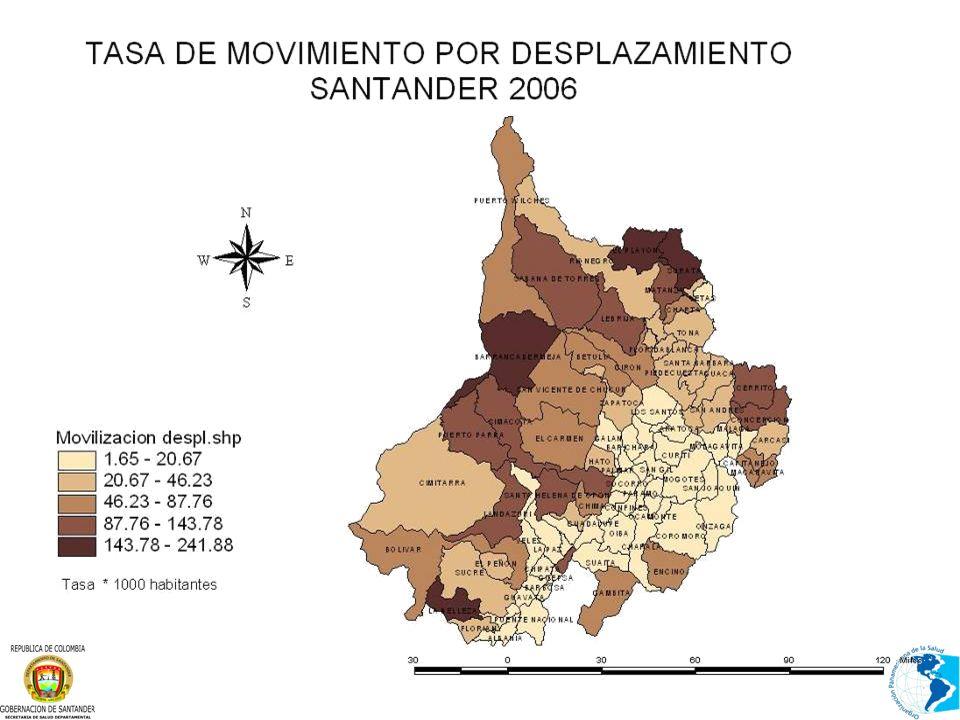 SISTEMA DE VIGILANCIA EPIDEMIOLOGICA DE LA POBLACION EN SITUACION DE DESPLAZAMIENTO Santander 2006
