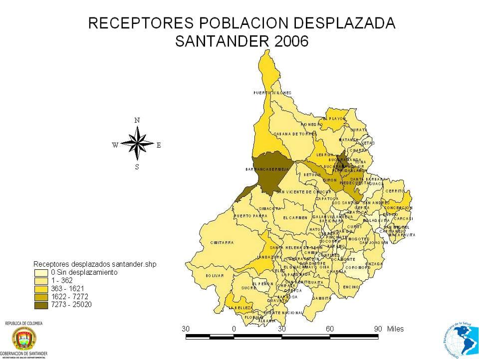 TENDENCIA DEL DESPLAZAMIENTO EN SANTANDER, PERSONAS Y HOGARES RECIBIDOS 1987-2006* Fuente: Sistema Único de Registro S.U.R.
