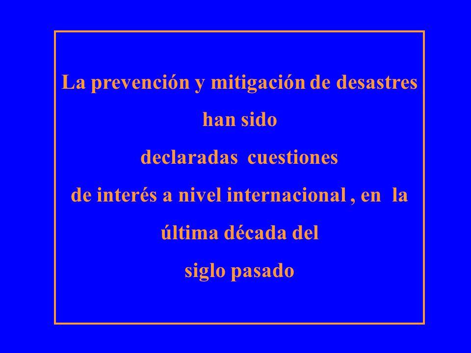 La prevención y mitigación de desastres han sido declaradas cuestiones de interés a nivel internacional, en la última década del siglo pasado