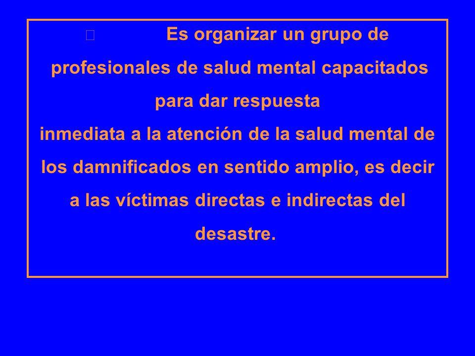 Es organizar un grupo de profesionales de salud mental capacitados para dar respuesta inmediata a la atención de la salud mental de los damnificados e