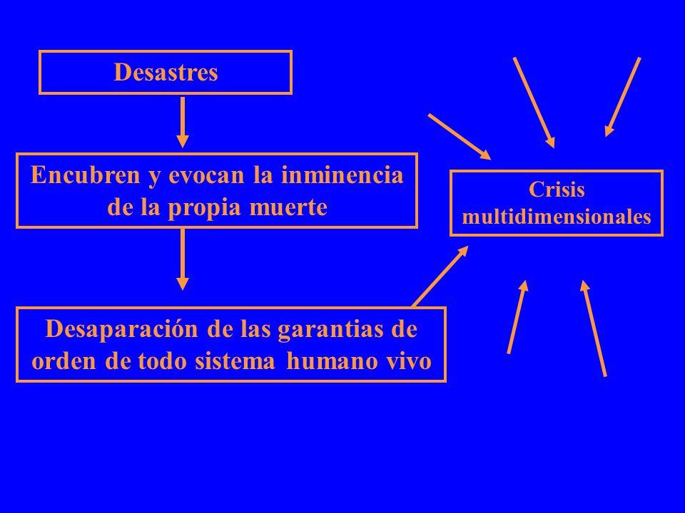 Desastres Encubren y evocan la inminencia de la propia muerte Desaparación de las garantias de orden de todo sistema humano vivo Crisis multidimension