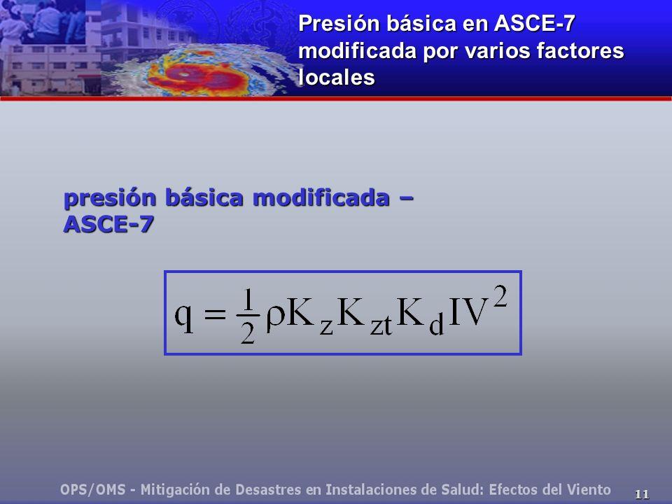 11 presión básica modificada – ASCE-7 Presión básica en ASCE-7 modificada por varios factores locales