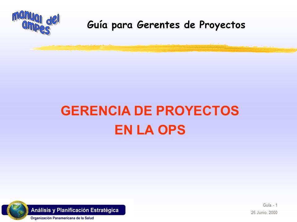 Guía para Gerentes de Proyectos Guía - 42 26 Junio, 2000 LOS SUPUESTOS SOBRE FACTORES EXTERNOS TAMBIEN DEBEN SER EXPLICITOS SUPUESTOS ETAPA DE PLANIFICACION