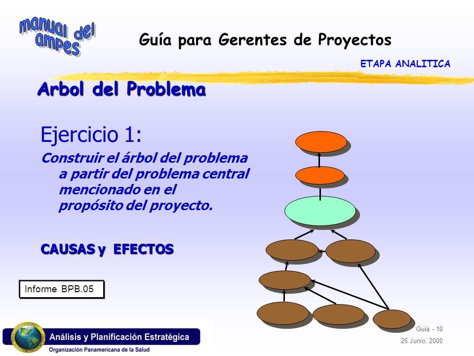 Guía para Gerentes de Proyectos Guía - 10 26 Junio, 2000 Arbol del Problema Ejercicio 1: Construir el árbol del problema a partir del problema central