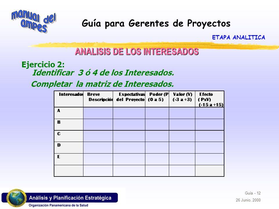 Guía para Gerentes de Proyectos Guía - 12 26 Junio, 2000 Ejercicio 2: Identificar 3 ó 4 de los Interesados. Completar la matriz de Interesados. ANALIS