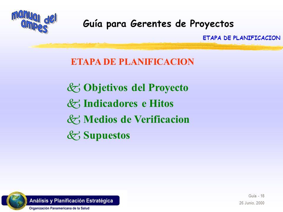 Guía para Gerentes de Proyectos Guía - 18 26 Junio, 2000 k Objetivos del Proyecto k Indicadores e Hitos k Medios de Verificacion k Supuestos ETAPA DE