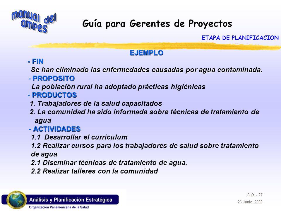 Guía para Gerentes de Proyectos Guía - 27 26 Junio, 2000 EJEMPLO EJEMPLO - FIN - FIN Se han eliminado las enfermedades causadas por agua contaminada.
