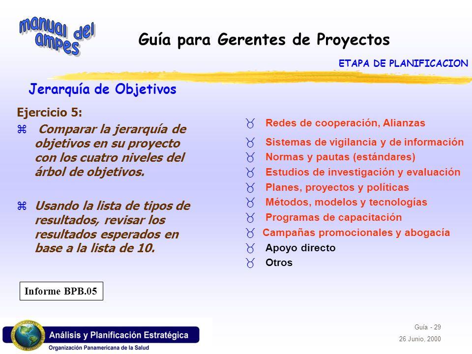 Guía para Gerentes de Proyectos Guía - 29 26 Junio, 2000 Jerarquía de Objetivos Ejercicio 5: z Comparar la jerarquía de objetivos en su proyecto con l
