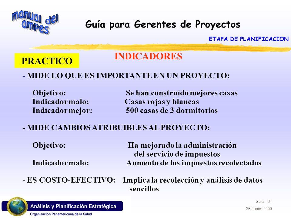 Guía para Gerentes de Proyectos Guía - 34 26 Junio, 2000 PRACTICO - MIDE LO QUE ES IMPORTANTE EN UN PROYECTO: Objetivo: Se han construído mejores casa