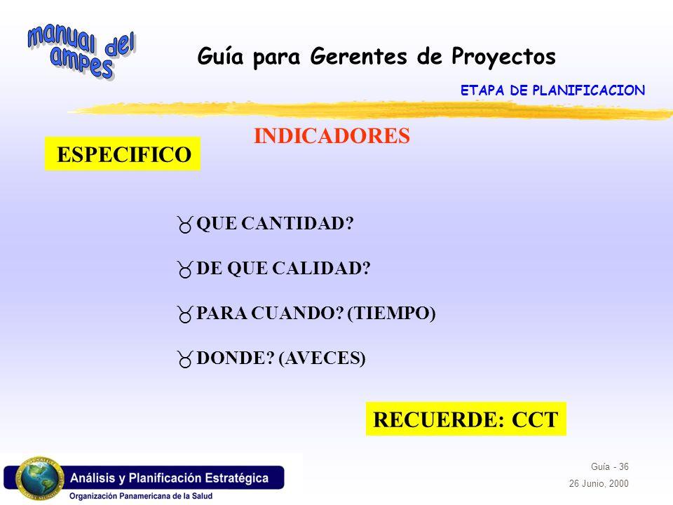 Guía para Gerentes de Proyectos Guía - 36 26 Junio, 2000 ESPECIFICO _QUE CANTIDAD? _DE QUE CALIDAD? _PARA CUANDO? (TIEMPO) _DONDE? (AVECES) INDICADORE