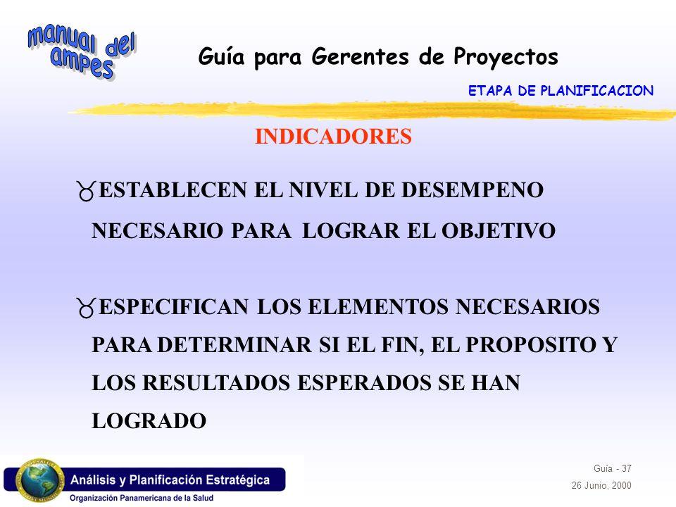 Guía para Gerentes de Proyectos Guía - 37 26 Junio, 2000 _ESTABLECEN EL NIVEL DE DESEMPENO NECESARIO PARA LOGRAR EL OBJETIVO _ESPECIFICAN LOS ELEMENTO