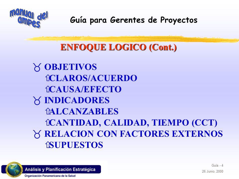 Guía para Gerentes de Proyectos Guía - 4 26 Junio, 2000 _ OBJETIVOS ñCLAROS/ACUERDO ñCAUSA/EFECTO _ INDICADORES ñALCANZABLES ñCANTIDAD, CALIDAD, TIEMP