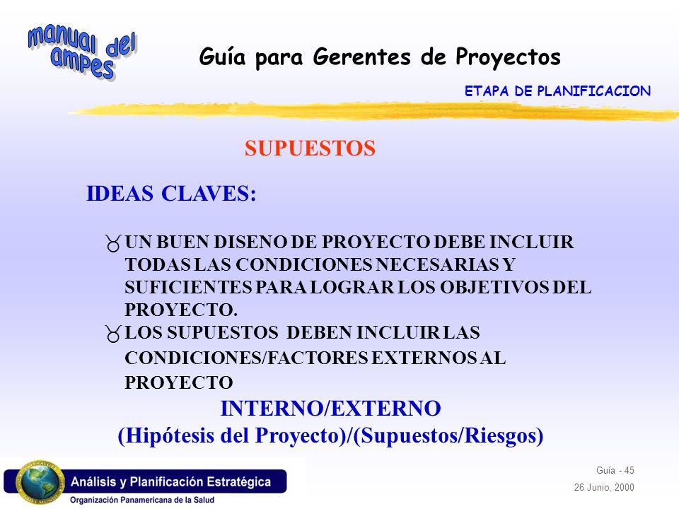 Guía para Gerentes de Proyectos Guía - 45 26 Junio, 2000 IDEAS CLAVES: _UN BUEN DISENO DE PROYECTO DEBE INCLUIR TODAS LAS CONDICIONES NECESARIAS Y SUF