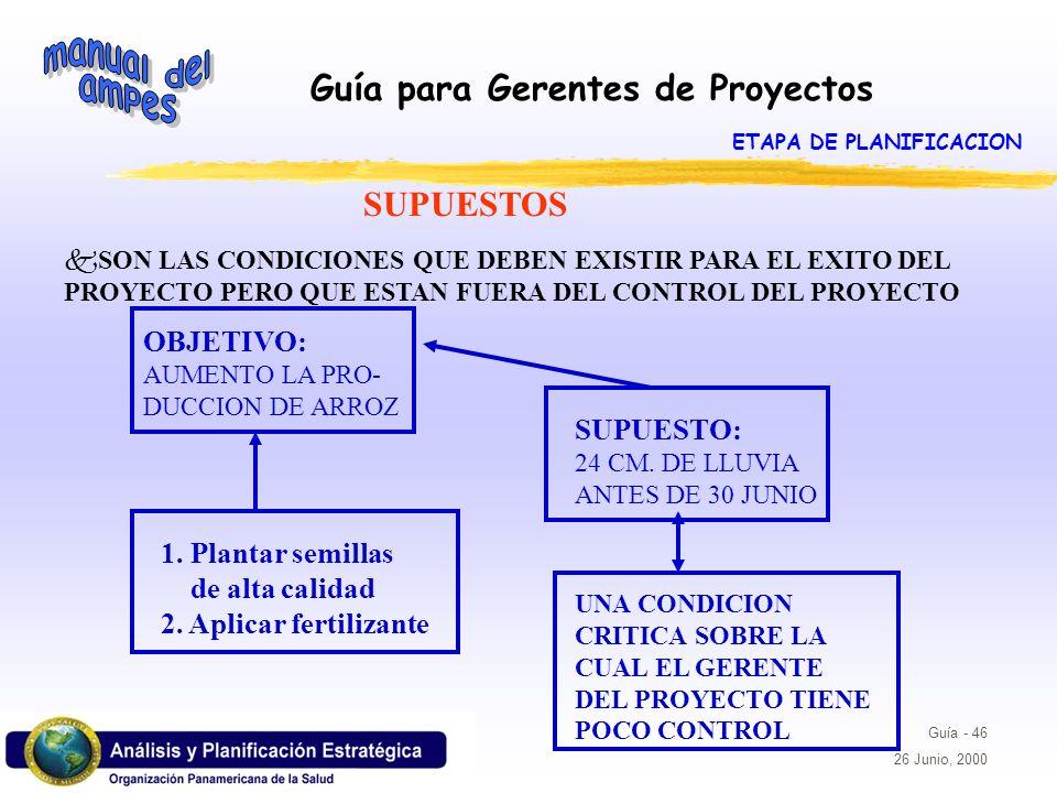 Guía para Gerentes de Proyectos Guía - 46 26 Junio, 2000 SUPUESTOS kSON LAS CONDICIONES QUE DEBEN EXISTIR PARA EL EXITO DEL PROYECTO PERO QUE ESTAN FU