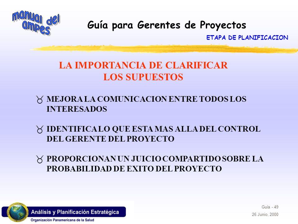 Guía para Gerentes de Proyectos Guía - 49 26 Junio, 2000 LA IMPORTANCIA DE CLARIFICAR LOS SUPUESTOS _MEJORA LA COMUNICACION ENTRE TODOS LOS INTERESADO