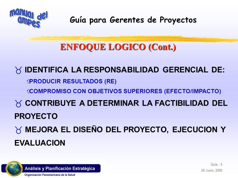 Guía para Gerentes de Proyectos Guía - 5 26 Junio, 2000 IDENTIFICA LA RESPONSABILIDAD GERENCIAL DE: ñPRODUCIR RESULTADOS (RE) ñCOMPROMISO CON OBJETIVO